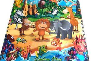 Thảm xốp tranh 4 con vật 60×60